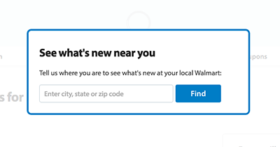 Wal-Mart location prompt